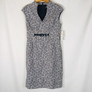 Adrianna papell center buckle dress v neck Blue 14